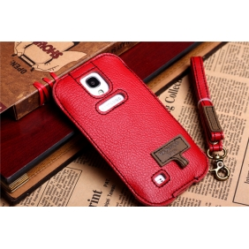 Amazing design Genuine real cow leather protective  case cover  with 2PCS screen protector for Samsung Galaxy S4 SIV I9500