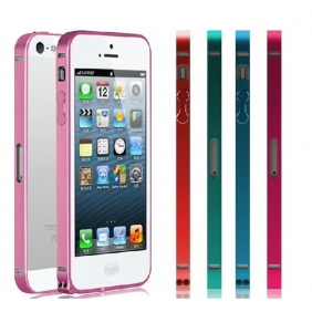 Ultra thin Aluminum Alloy bumper Frame protective  case cover shell with 2PCS screen protector  for APPLE IPHONE5 IPHONE5S