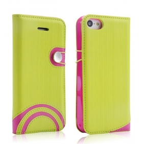 Amazing Rainbow stype  Flip Leather Protective case cover shell with 2PCS screen protector  for APPLE IPHONE5C