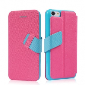 Amazing  Flip Leather Protective case cover shell with stand function  with 2PCS screen protector for APPLE IPHONE5C