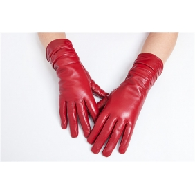 Luxury  Womens Winter  Genuine Real  Lambskin Sheepskin  Leather Warm Gloves Cashmere Lined