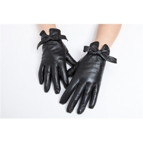 Luxury Womens Winter Cute Butterfly Bow-knot Style Genuine Real Lambskin Sheepskin Leather Warm Gloves Cashmere Lined