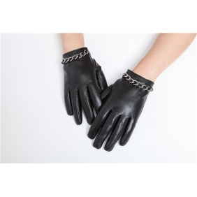 Luxury Womens Winter Metal Chain Style Genuine Real Lambskin Sheepskin Leather Warm Gloves