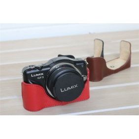 Genuine Cow Leather Protective  Bottom  Case Cover Bag for Panasonic GF3