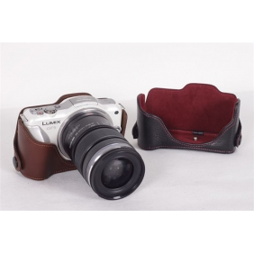 Genuine Cow Leather Protective  Bottom  Case Cover Bag for Panasonic GF5