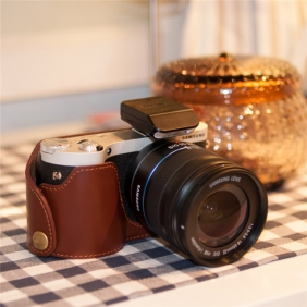 Genuine Cow Leather Protective  Bottom  Case Cover Bag for Samsung NX300