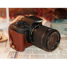 Genuine Cow Leather Protective  Bottom  Half Case Cover Bag for CANON EOS 100D(18-55mm)