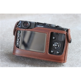 Genuine Cow Leather Protective  Bottom  Half Case Cover Bag for FUJI FUJIFILM X10