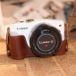 Genuine Cow Leather Protective  Bottom Half Case Cover Bag for Panasonic GF6