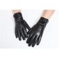 Luxury Womens Winter Cute Rosette Style Genuine Real Lambskin Sheepskin Leather Warm Gloves