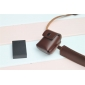 Genuine Cow Leather Protective  Case Cover Bag for SONY FW50 BATTERY/NEX FLASH LAMP